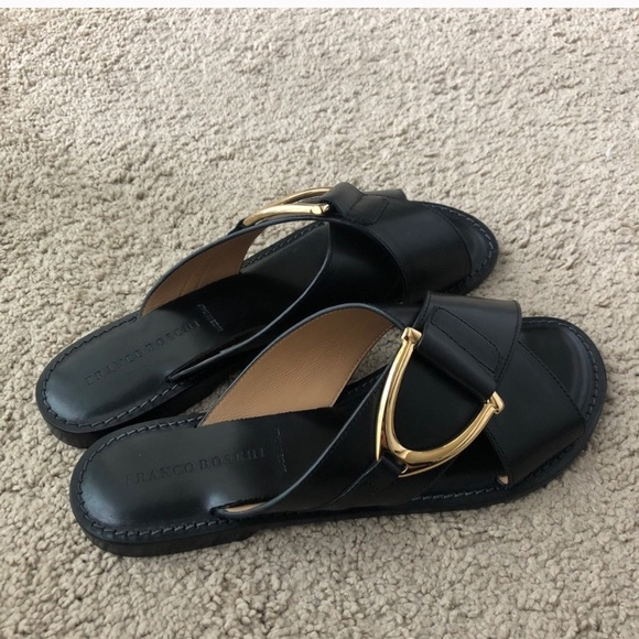 Franco Boschi Slip on leather sandal slide
